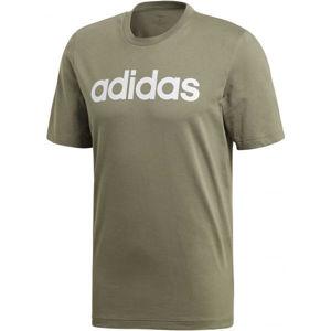 adidas E LIN TEE tmavě zelená L - Pánské tričko