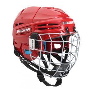 Bauer PRODIGY COMBO YTH červená 48-53,5 - Dětská helma s mřížkou