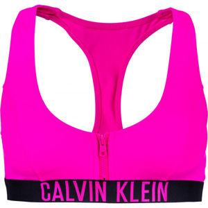 Calvin Klein ZIP BRALETTE-RP růžová XL - Dámský vrchní díl plavek