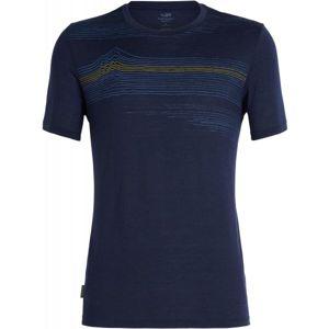 Icebreaker TECH LITE SS CREWE LINEWORK tmavě modrá XL - Pánské triko s krátkým rukávem