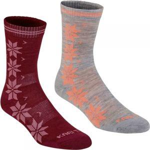 KARI TRAA VINST WOOL SOCK 2PK vínová 36-38 - Dámské ponožky