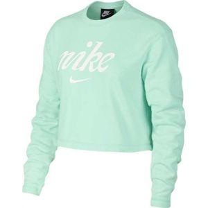 Nike NSW CREW CROP WSH zelená L - Dámská mikina