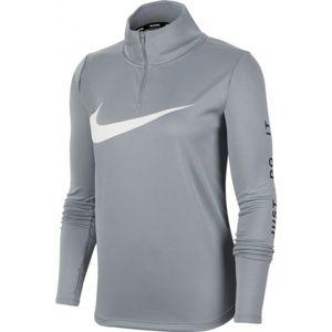 Nike MIDLAYER QZ SWSH RUN W šedá L - Dámský běžecký top