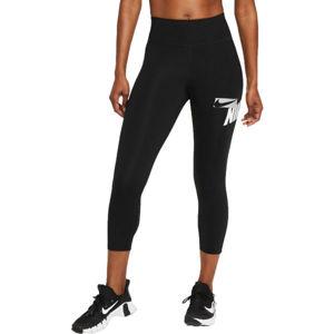 Nike ONE CROPPED GRAPHIC  2x - Dámské sportovní legíny plus size