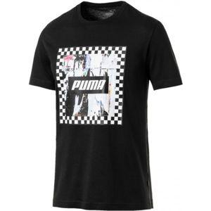 Puma CHECK GRAPHIC TEE černá M - Pánské tričko