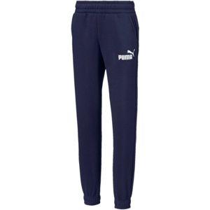 Puma ESS LOGO SWEAT PANTS FL tmavě modrá 152 - Dětské kalhoty